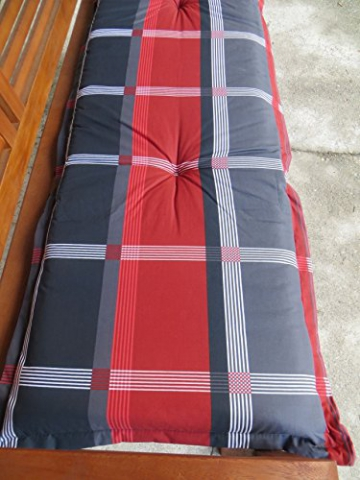 8 cm Luxus 2-Sitzer Bankauflage B253 ca. 120x48x8 cm, grau rot, UVP 29,95€ - 2