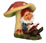 Gartenzwerg mit Buch unter Pilz Gartenfigur - 1