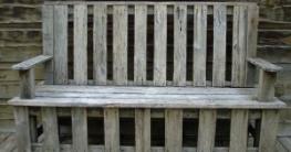 selbergebaute Holz Gartenbank